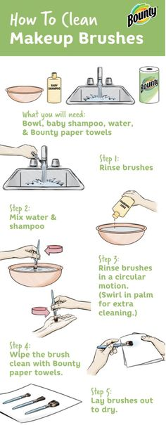 When you're searching for unique ways to deep clean your home, don't forget about your collection of beauty products! This cleaning video from Bounty Paper Towels on how to clean your makeup brushes is sure to do the trick Makeup Routine, Makeup Hacks, Makeup Tools, Skincare Routine, Makeup Tutorials, Makeup Ideas, How To Clean Makeup Brushes, Cleaning Brushes, Brush Cleaning