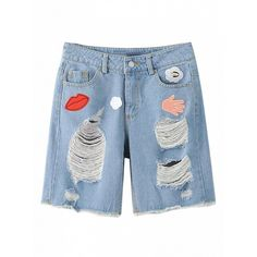 Choies Blue Patch Embellishment Heavy Ripped Straight Denim Shorts (291.750 IDR) ❤ liked on Polyvore featuring shorts, blue, ripped jean shorts, ripped shorts, blue shorts, torn shorts and jean shorts
