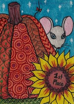ACEO Original zentangle cute mouse pumpkin contest fall drawing P4PMJFF #Miniature