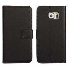 Samsung Galaxy S6 - Genuine Leather Flip Stand Protective Phone Cover Case Wallet - Black