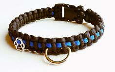 Thin Blue Line Paracord Dog Collar Police Dog by MJSurviveInStyle