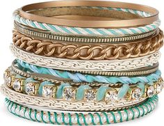 I'm obsessed with these turquoise bangles! If bracelets didn't annoy me so much I'd use bangles to accessorize everything! The Bangles, Gold Bangles, Jewelry Accessories, Fashion Accessories, Fashion Jewelry, Jewelry Box, Girls Accessories, Diy Jewelry, Women's Fashion