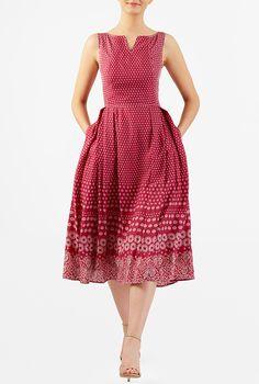 I <3 this Floral print trapunto trim midi dress from eShakti