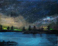 Купить Картина Ночное безмолвие - синий, ночь, небо, звезды, лес, вода, луга, картина