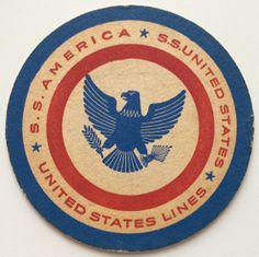 United States Lines Drink Labels, Beer Labels, Sous Bock, Bar Coasters, Beer Bar, Vintage Posters, Ss, United States, Kids Rugs
