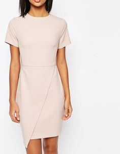 Image 3 ofASOS Short Sleeve Clean Asymetric Mini Dress