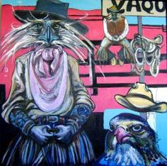 Vaqueros - 90 x 90.  painting by Suse Hartung - oil on canvas