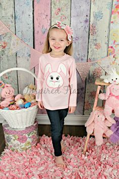 Precious Easter Bunny Embroidered Shirt or Bodysuit with Matching Headband - Baby - Girls - Holidays - Photo Shoot - Party - Spring - Theme