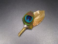 Gold boutonniere peacock wedding gold wedding Indian by Rationale, $13.00