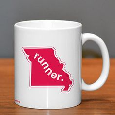 Missouri Runner Ceramic Mug - Show off your pride for Missouri with this great Missouri Runner Ceramic Coffee Mug.