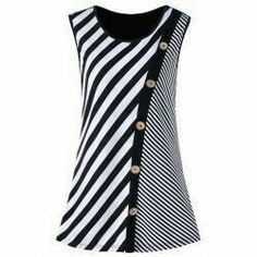 Plus Size Button Embellished Striped Tank Top – Black White Rosewholesale welcomes customers worldwide, offering them best customer service and large collection of high quality products at cheap price. Trendy Dresses, Plus Size Dresses, Nice Dresses, Striped Tank Top, Striped Dress, Dress Black, Dress Red, Striped Tops, Plus Size Pullover