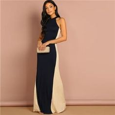 COLROVIE Color Block Halter Slim Elegant Party Dress Women 2019 Fashion  Sleeveless Sheath Maxi Dress Evening Ladies Dresses b07f03e64eff