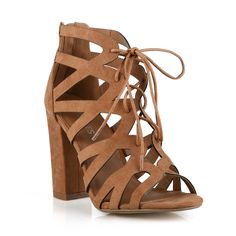 Very comfortable women's sandal with beautiful laser cut detailing that laces up around the ankle, a block heel and a stylish peep toe, and a zipper in the back. Lace -up High Heels Women's Sandals Co