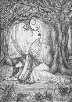Disillusion by Ametystical on DeviantArt   *   Fairy Myth Mythical Mystical Legend Elf Fairy Fae Wings Fantasy Elves Faries Sprite Nymph Pixie Faeries Hadas Enchantment Forest Whimsical Whimsey Mischievous Coloring pages colouring adult detailed advanced printable Kleuren voor volwassenen coloriage pour adulte anti-stress kleurplaat voor volwassenen Line Art Black and White