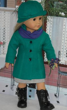 Teal Wool Coat, Hat, Denim Skirt and Tee Outfit by SugarloafDollClothes, $80.00