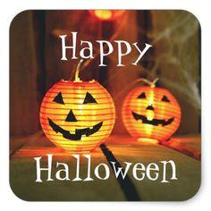 Orange Halloween Jack-O-Lanterns Square Sticker - Halloween happyhalloween festival party holiday