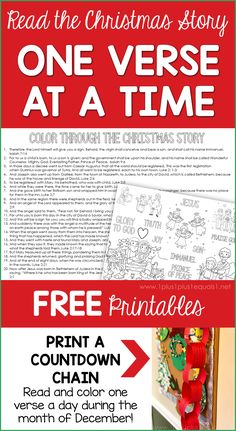 Color Through the Christmas Story One Bible Verse at a Time for Advent ~ a simple way to focus on the story of Christs' Birth in the Bible. Christmas Stories For Kids, Christmas Activities For Kids, Free Christmas Printables, A Christmas Story, Kids Christmas, Christmas Verses, Free Printables, Bible Verses For Kids, Cool Calendars