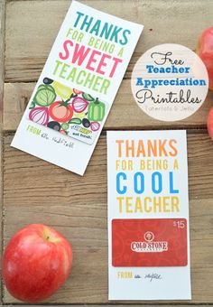 Easy Last Minute End of Year Teacher Gifts: FREE Download Printable of Gift Card Holders THANKS FOR BEING A SWEET TEACHER & THANKS FOR BEIN...