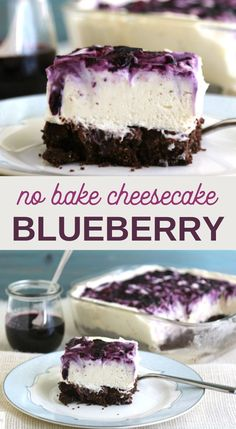 these No bake blueberry cheesecake bars are a super quick and easy dessert! even the kids can make it! #blueberries #blueberrydessert #cheesecake #easydessert #desserts #pookspantry