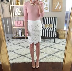 Loft cream/white lace pencil skirt - what to wear with it?