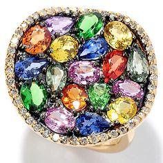 148-470- EFFY 14K Gold 5.55ctw Diamond, Sapphire & Tsavorite Ring