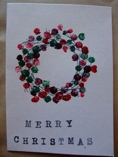 This is a fun & easy way to decorate your christmas cards. DIY fingerprint wreath.
