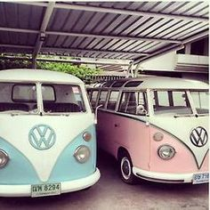 pink and blue VW bus