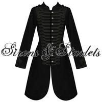 View Item WOMENS LADIES NEW BLACK GOTHIC STEAMPUNK MILITARY COTTON COAT JACKET