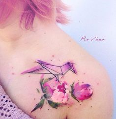 Origami Bird & Pink Peony Flowers Shoulder Piece | Best tattoo ideas & designs