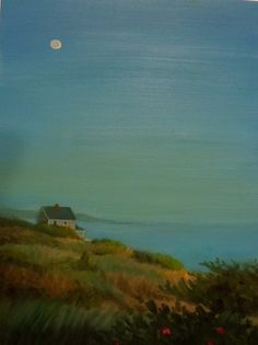 Cape Cod Moonrise over Ocean Oil Painting by annmillerpaints, $135.00