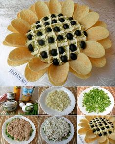 DIY Chips Sunflower Salad Is Perfect for Party - Salat Egg Salad Sandwiches, Sandwich Cake, Party Cooler, Aperitivos Finger Food, Appetizer Recipes, Appetizers, Salad Recipes, Sunflower Party, Cuisine Diverse