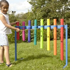 Try your Boomwhackers out around the school with this sturdy outdoor frame. Outdoor Learning Spaces, Kids Outdoor Play, Kids Play Area, Backyard For Kids, Play Spaces, Eyfs Outdoor Area, Music Garden, Sensory Garden, Backyard Playground