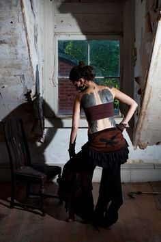 Stained Apocalyptic Crow Bustle Wrap Skirt by wingsofsin on Etsy, $60.00