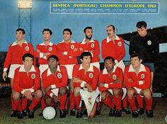 Benfica, european champion, 1962. Top (left to right): Fernando Cruz, Ângelo Martins, Mário João, Cavém, Germano, Costa Pereira, Bottom (left to right): José Augusto, Eusébio, José Águas, Mário Coluna, António Simões, May 2. Benfica 5-Real Madrid 3.