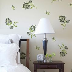 Paint this Oriental Brocade Wall Stencils Elements on a wall for wall art or on painted furniture for a delicate and Asian inspired flower pattern. To decorate