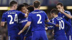 Chelsea players celebrate: Chelsea 2 Stoke City 1 - 4 Apr 15