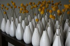 billy balls in white vases Calla Lily Wedding Flowers, Daisy Wedding, Floral Wedding, Mod Wedding, Summer Wedding, Table Centerpieces, Wedding Centerpieces, Table Decorations, Summer Centerpieces