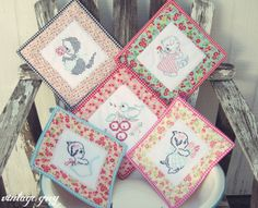 vintage grey: new items are here! My vintage inspired embroidered pot holders!