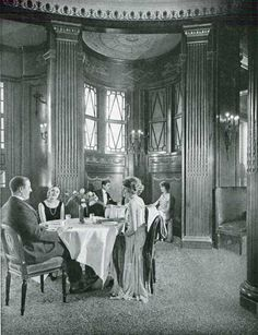 taken on board the steamship Leviathan in 1923 showing views of passengers in the Ritz-Carlton Restaurant