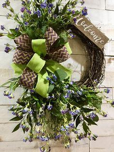 Purple Wild Flowers Wreath, Rustic Farmhouse Wreath, Front Door Welcome Wreath, Mother's Day Wreath, Gift for Mom, Spring Summer Door Decor