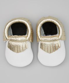 White & Gold Leather Moccasins//