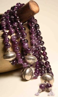 Amethyst and Sterling Sliver Mala / Prayer Beads