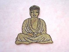 Golden Buddha - Iron On Patch/Applique/badge embroidery religion Buddhism  #null