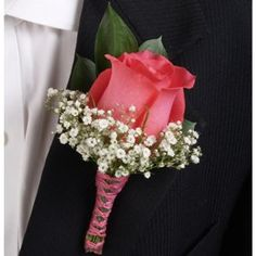Coral Rose Boutonniere. Hydrangea, Hyacinth or Stephanotis instead of baby's breath.