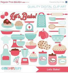 Lets Bake / Kitchen Utensils Clip Art / Digital by MyClipArtStore Food Clipart, Vector Clipart, Food Scale, Cupcakes, Bake Sale, Kitchen Utensils, Cool Kitchens, Clip Art, Kids Rugs