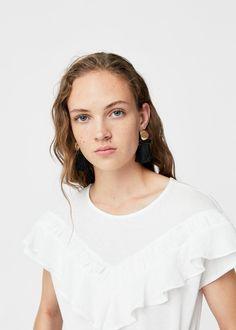 Katoenen t-shirt met ruche   MANGO