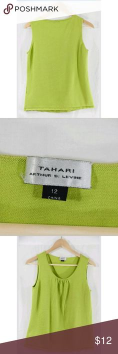 Tahari Green Sleevless Size 12 TAHARI-  Arthur S Levine- Women's- Green Sleeveless -Scoop Neck-Size 12   Condition: Pre-Owned, Gently Used   Size -12  Made in China  Material-  70% Soie,28%Cotton,2% Spandex  Please Remember all Clothing Items may fit differently depending on Brand, Fit, Use or Prior customization. We strongly urge our customer's to check measurements first to guarantee proper fitting Tahari Tops Blouses