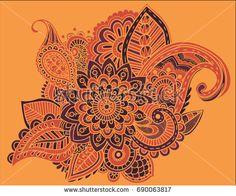 Mehndi Patterns Vector : Henna mehndi doodles abstract floral paisley design elements