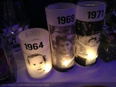 The photo candle holders are the focal element that adds personality to the whole arrangement. They take us on a trip down memory lane and cover all the ...