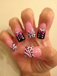 Pink ,white,black nails